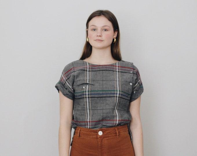 vintage Liz Claiborne blouse | cotton + linen blouse