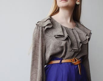 FELICITY BLOUSE   Vintage 70s Ruffled Collar & Cuff Blouse   70s blouse   ruffle blouse   ABLE shoppe