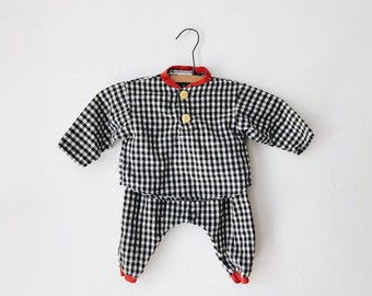 vintage baby gingham outfit