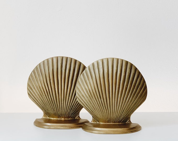 Brass shell mcm bookends