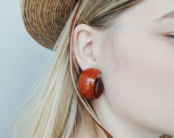 vintage rust hoop earrings | vintage hoops | cli on earrings | statement earrings | 90s earrings | Able Shoppe