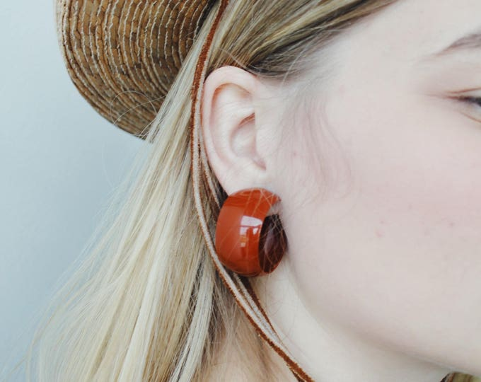 vintage rust hoop earrings | clip on earrings | statement earrings | 90s earrings | Able Shoppe