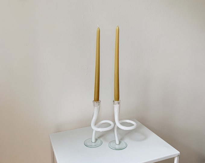Vintage swirl glass candle holders set