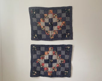 Set of 2 vintage quilted pillow shams