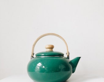 Vintage enamel kettle with wooden handle | enamel kettle | mid century kettle