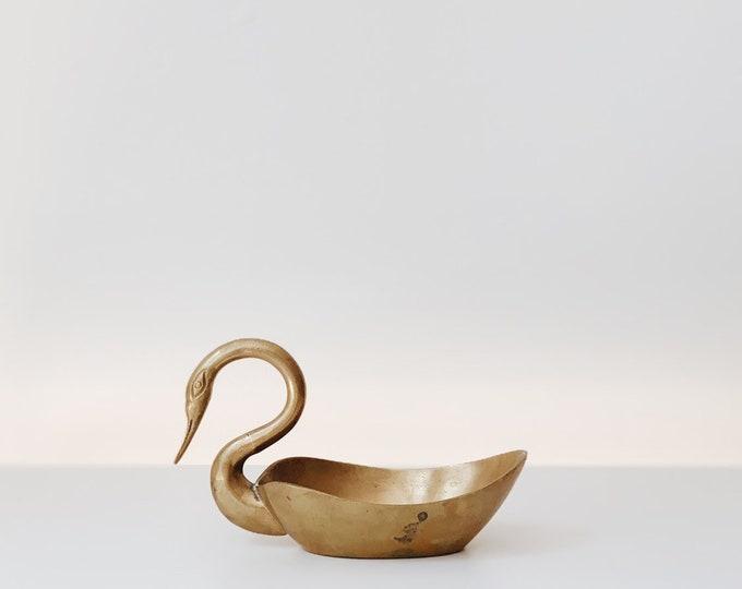 Mid century brass swan dish | mid century animals | brass dish | mid century dish