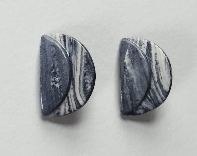 DELLA EARRINGS | grey marbled clay stud earrings | pierced earrings | statement earrings | vintage earrings | Able Shoppe