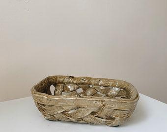 Vintage woven ceramic basket