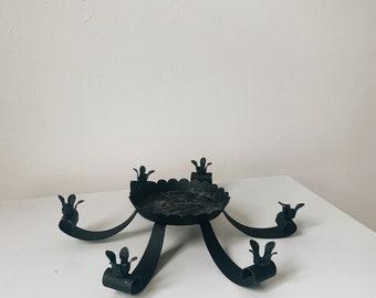 Vintage black metal 6 candle holder