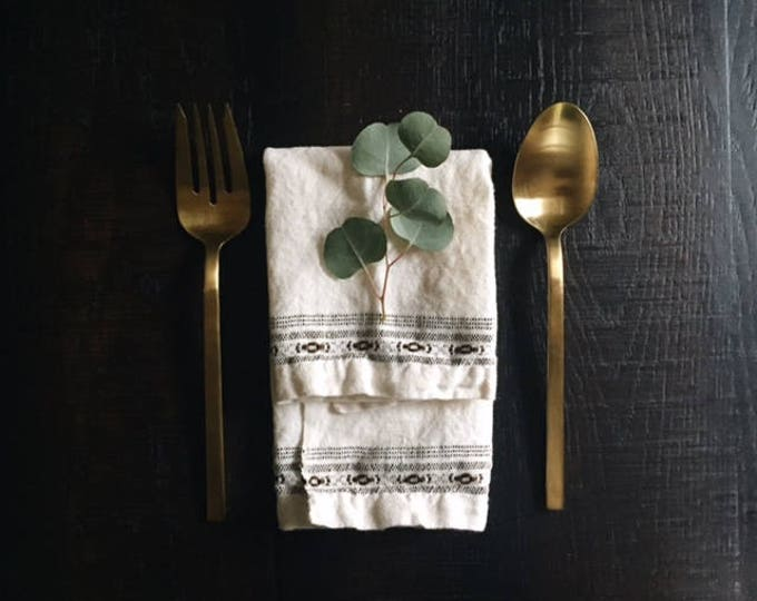 vintage linen dinner napkins with hand stitched design   Able Shoppe