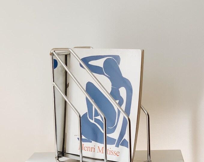 vintage mid century modern chrome magazine holder