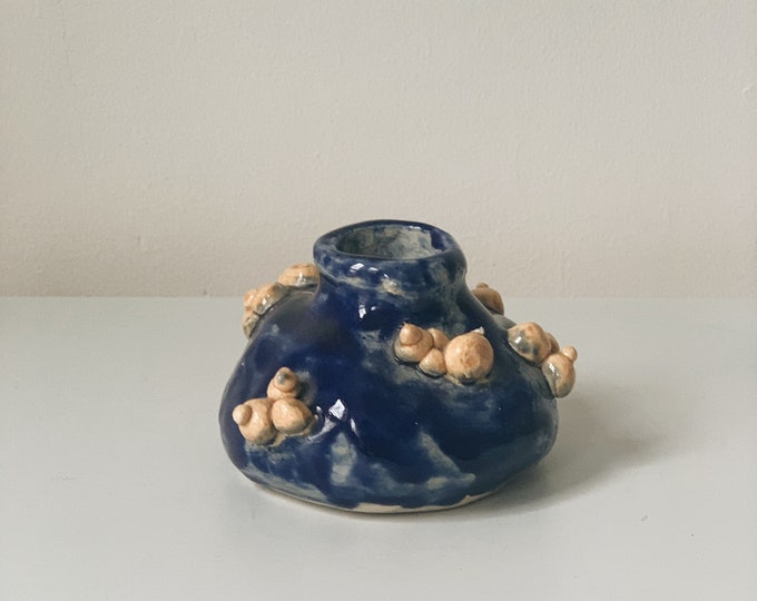 Vintage handmade abstract cobalt ceramic