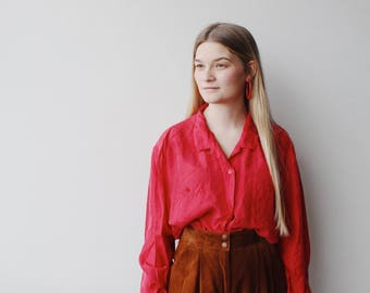 AVERLY  BLOUSE   Vintage red silk blouse   red blouse   silk blouse   ABLE shoppe