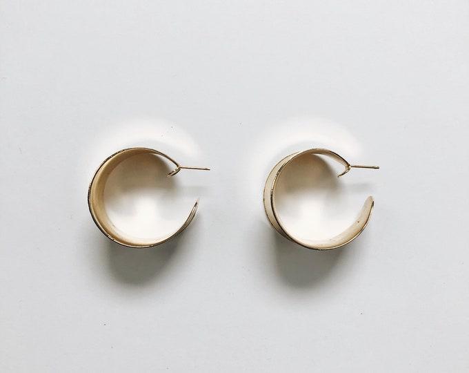 ELVA EARRINGS | vintage metal large hoop earrings | pierced earrings | statement earrings | vintage earrings | Able Shoppe