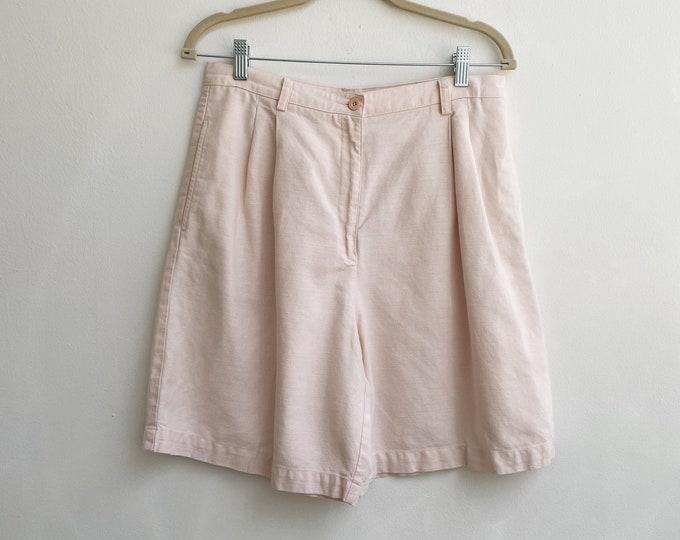 Vintage pink linen shorts