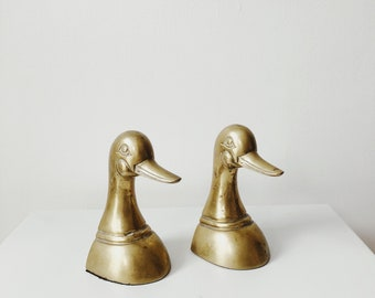 vintage golden duck bookends | mcm decor | midcentury modern decor | able shoppe