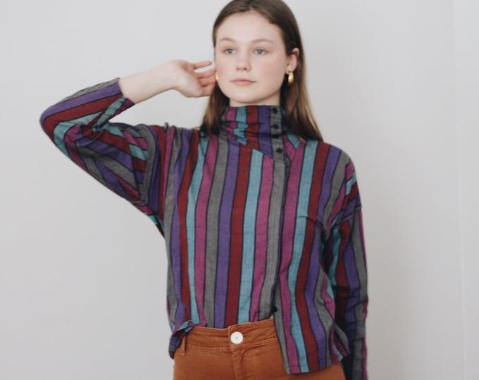vintage cotton striped blouse