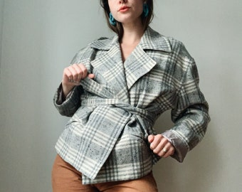 Vintage wool blend plaid jacket