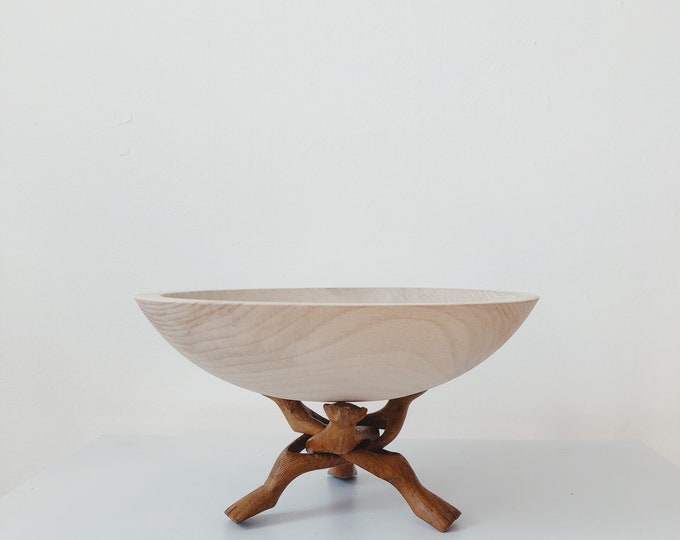 Small teak bowl holder / sculpture