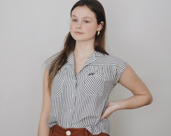 vintage cotton striped blouse