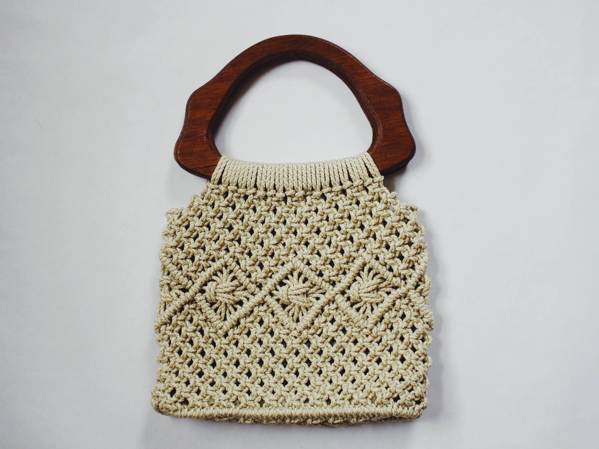LOTTY BAG | vintage macrame bag | woven purse | crochet bag ...