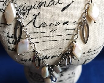 Sterling Silver necklace with real Pearls