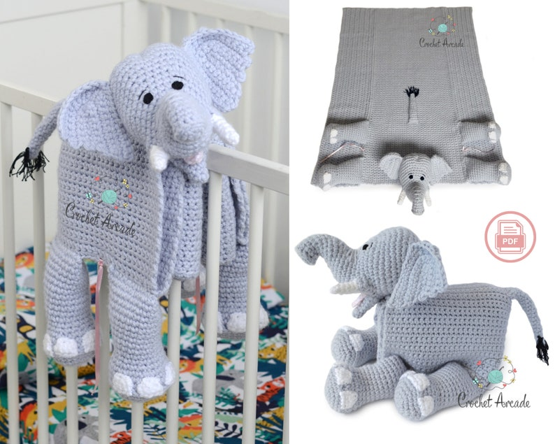 BABY BLANKET Crochet Pattern  Cuddle and Play Elephant image 0