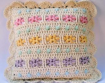 Sweet Flowery Crochet Cushion Pattern, crochet pillow pattern, baby girl crochet pillow, crochet flowery pillow, crochet flower blanket