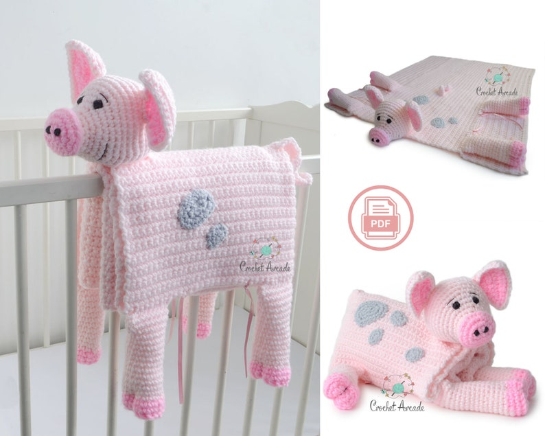 BABY BLANKET Crochet Pattern  Cuddle and Play Pig Crochet image 0