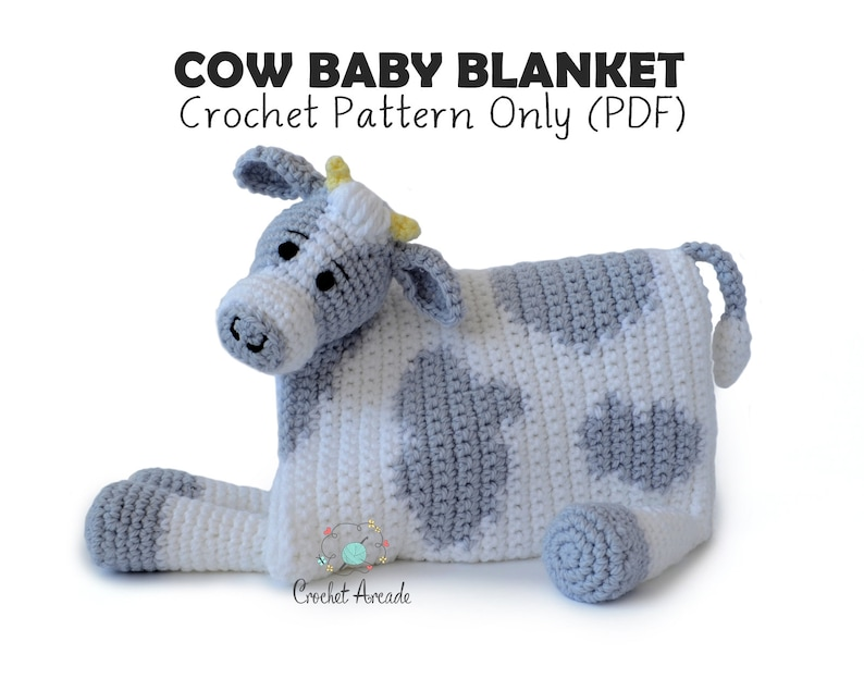 49195d6dea0 Cow Baby Blanket Crochet Pattern Cuddle and Play Cow Blanket