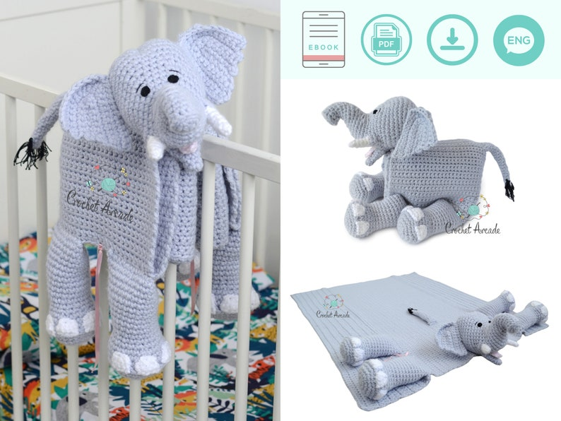 BABY BLANKET Crochet Pattern PDF  Cuddle and Play Elephant image 1
