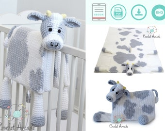 Cow Baby Blanket CROCHET PATTERN, Cuddle and Play Cow Blanket Toy Crochet Pattern, Crochet Baby Blanket Pattern, Crochet Cow Blanket Pattern