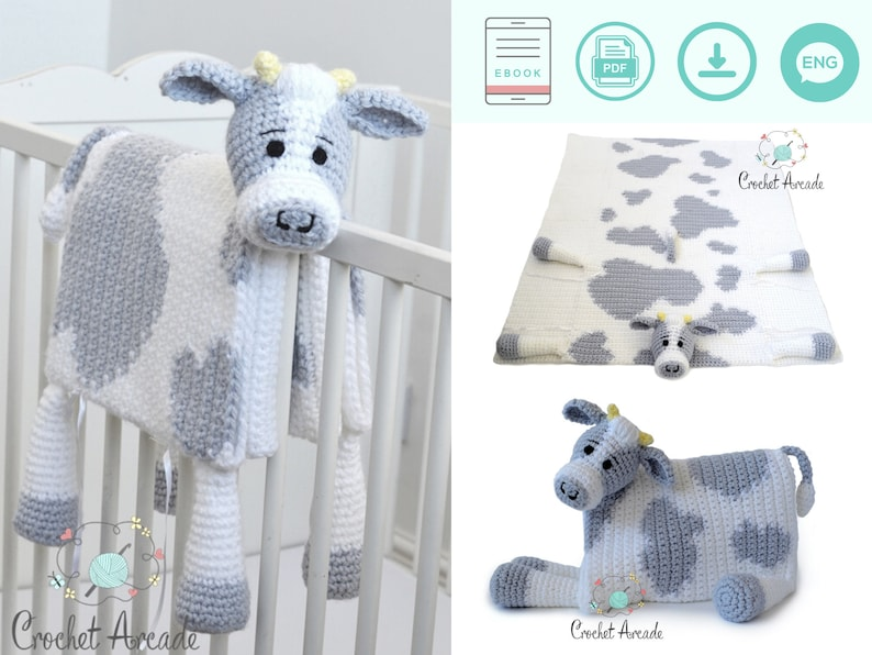 Cow Baby Blanket CROCHET PATTERN Cuddle and Play Cow Blanket image 0