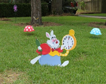 White rabbit/ alice in wonderland decoration/ yard sign/room decor