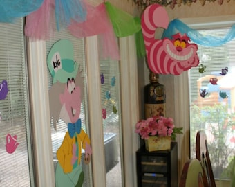 Alice in wonderland party decorations, 1 Cheshire cat, 1 mad hatter, 1 white rabbit