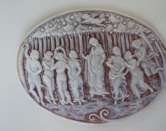 Master Hand carved Sardonyx shell lighted cameo carving of the Botticelli, La Primavera (Spring)