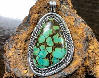 Sterling silver & turquoise pendant, Cloud Mountain Mine, artisan handcrafted, R. Beauford silversmith