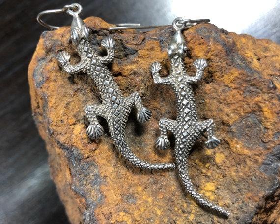 Vintage Southwest Sterling Silver Lizard Earrings