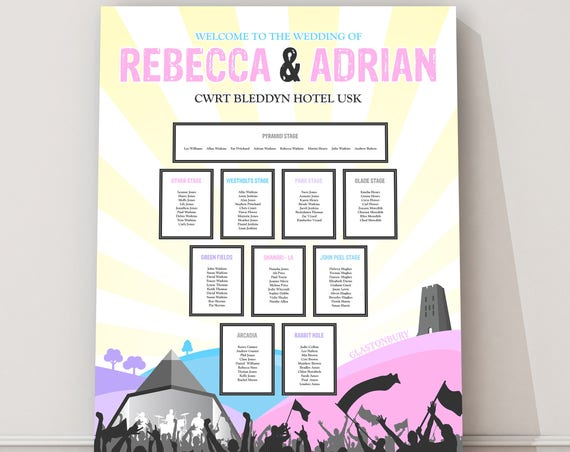 Glastonbury Wedding Table Plan