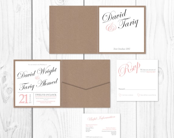 Vintage Blush Pocket Invitation