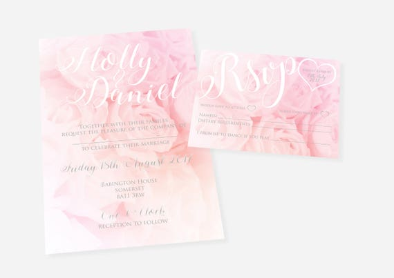 Pink Rose Printable Invitation