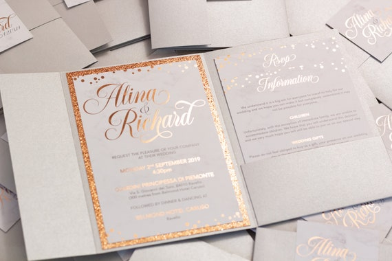 Pocketfold Marble & Rose Gold Foil Wedding Invitation