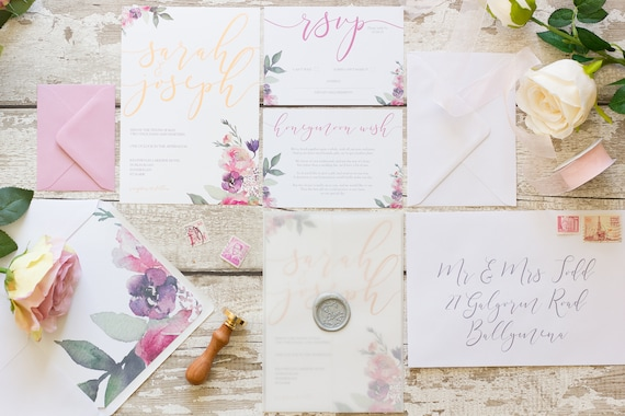 Floral Foil Wedding Invitation Set