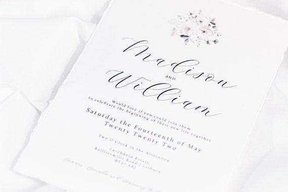 Torn Edge Floral Invitation