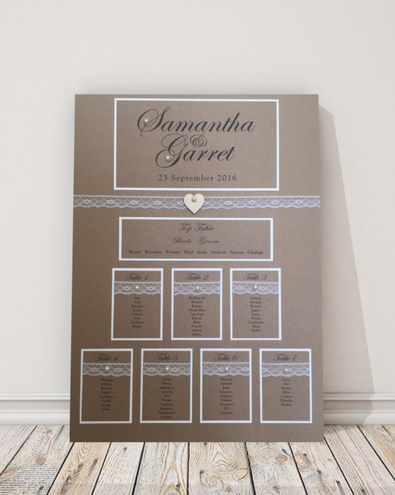 Vintage Kraft Wedding Table Plan