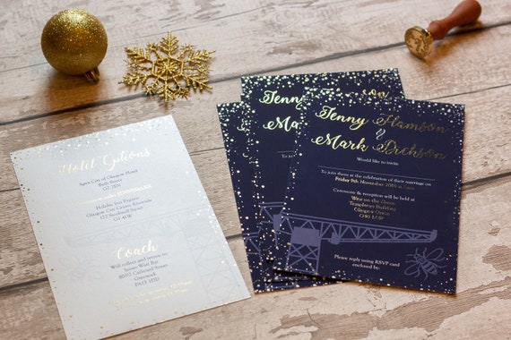 Navy and White Pearlescent with Gold Foil Sprinkles Invitation