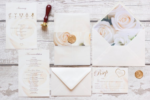 Ivory Floral Invitation with Gold Foil
