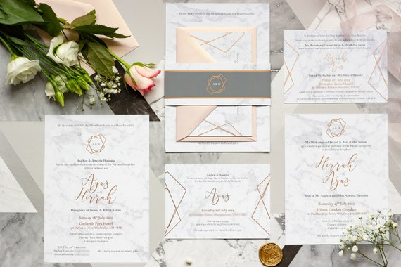 Walima & Baraat Invitation - Marble and Rose Gold Foil Invitation
