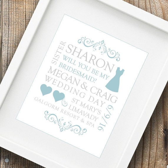 Bridesmaid proposal print will you be my bridesmaid