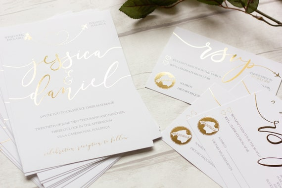 Foil Destination Wedding Invitation